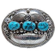 Vintage Sterling Silver Three Piece Kingman Turquoise Native American Navajo Belt Buckle