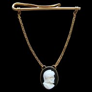 Vintage Yellow Gold Filled Tie Bar Roman Centurion Cameo Dangle Pendent Opulent