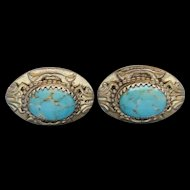 Vintage Large Whiting & Davis Faux Turquoise Glass Earrings Very Nice