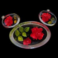 Vintage Lucite Brooch and Earring Set Red Roses and Green Leaves Fascinating