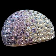 Marvelous Sterling Silver Purple Pink White CZ Stone Ladies Dome Ring Fabulous