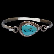 Ravishing Sterling Silver Sky Blue Kingman Turquoise Vintage Bangle Bracelet