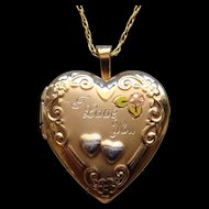 Delightful Gold Filled Heart Shape Locket Tri-Color Engraved I LOVE YOU Alluring