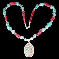 Beautiful Sterling Silver Red Coral Blue Turquoise Southwestern Necklace Nice