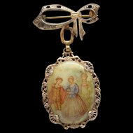 Vintage Gold Filled Printed Glass 1700's Man and Woman Cameo Dangle Brooch Nice