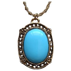 Vintage Whiting and Davis Large Persian Blue Turquoise Pendant Necklace Elegant