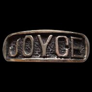 Big Bold Black and Silver Ladies Sterling Silver Right Hand Name Ring JOYCE Band