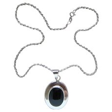 Large Vintage Sterling Silver Black Onyx Made in Mexico Pendant Necklace Lovely - Red Tag Sale Item