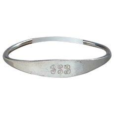 Sterling Silver Signed L.Vernon Designer Ball End Cuff Bracelet Engraved Nice