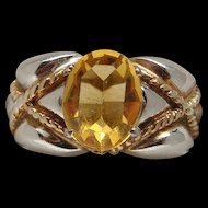 Beautiful Two Tone Sterling Silver Golden Citrine Right Hand Birthstone Ring Lovely