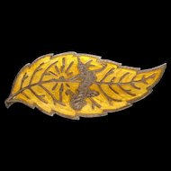 Old Siam Thailand Sterling Silver Yellow Enamel Leaf Brooch Mekkalah Goddess of Lighting