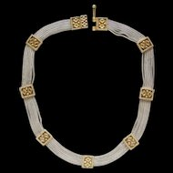 Magnificent Sterling Silver Gold Wash Accent Medieval Style Choker Necklace Nice