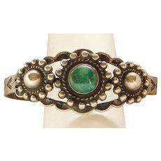 Sterling Silver Vintage Fred Harvey Era Green Turquoise Stamped Bracelet Lovely