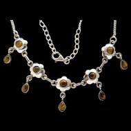 Ladies Fantastic Sterling Silver Tiger's Eye Bib Necklace Adjustable 17-19.5 In