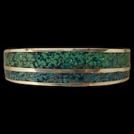 Beautiful Vintage Two Tone Blue Turquoise Chip Inlay Bracelet Very Nice