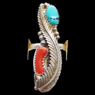 Marvelous Sterling Silver Red Coral Kingman Turquoise Signed Navajo Ring