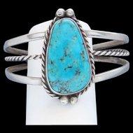 Vintage Sterling Silver Southwestern Sky Blue Turquoise Big Cuff Bracelet