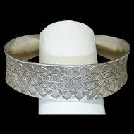 Vintage Sterling Silver Southwestern Hand Stamped Indian Pattern Cuff Bracelet