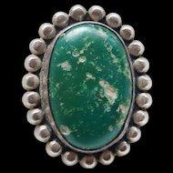 Vintage Fred Harvey Era 1950's Sterling Silver Green Turquoise Ring Good Looking