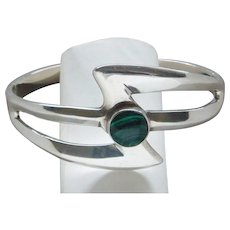 Vintage Sterling Silver Malachite Bangle Bracelet Made in Mexico Magnificent Old