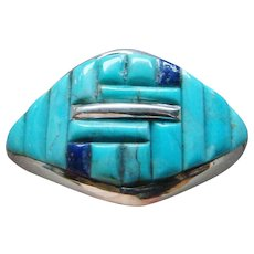 Gorgeous Sterling Silver Lapis Sky Blue Turquoise Corn Row Cobblestone Ring Nice