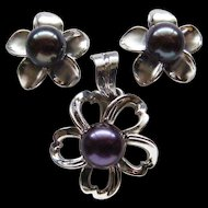 Tahitian Black Pearl Earring Pendant Set 14 Karat White Gold By Maui Divers Jewelry Spectacular