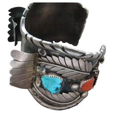 Very Large Vintage Sterling Silver Blue Turquoise Coral Watch Cuff Bracelet Nice