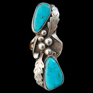 Magnificent Sterling Silver Sky Blue Sleeping Beauty Turquoise Signed Ring Nice
