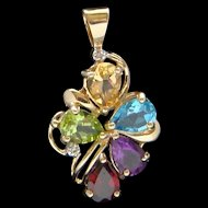Delightful Multi Colored Gemstone Diamond 10 Karat Yellow Gold Necklace Pendant