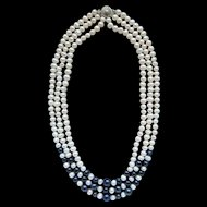 Elegant Black And White Freshwater Pearl Triple Strand Necklace Luxurious Fancy