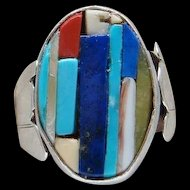 Sterling Silver Cobblestone Corn Row Native American Indian Ring Signed HR Lovely