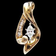.60 Ct Total Vintage 1980's Marquise Diamond 14 Karat Yellow Gold Pendant Lovely
