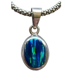 Magnificent Black Opal Pendant 950 Silver Necklace Signed Made in Mexico Lovely - Red Tag Sale Item
