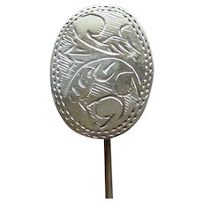 Southwestern Vintage Sterling Silver Stick Pin Ornate Engraving Very Nice Lovely