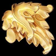 Large Vintage Rose Gold Wash Sterling Silver Grape Leaf Fur Clip Scarf Pin Big Bold