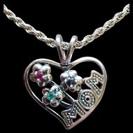MOM Heart Shape Pendant Ruby Emerald Sapphire Sterling Silver Choker Necklace