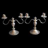 Reed & Barton Candelabra Set Sterling Silver Rare Hand Chased Flowers Engraved