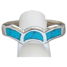 Vintage Heavy Turquoise 950 Silver Blue Turquoise Cuff Bracelet Made in Mexico Lovely