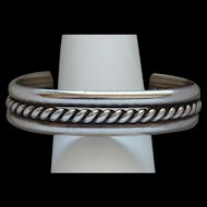 Fancy Twisted Vintage Native American Indian Sterling Silver Cuff Bracelet Nice