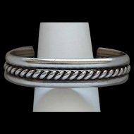 Fancy Twisted Vintage Native American Indian Sterling Silver Cuff Bracelet Nice