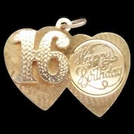 14 Karat Yellow Gold Double Heart Happy 16th Birthday Charm Pendant