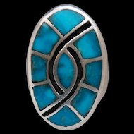 Large Men's Heavy Sterling Silver Turquoise Humming Bird Ring
