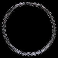 Large Heavy Dark Sterling Silver Fancy Necklace Dress Chain 17.5 Inches Long