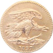 1873 Feuchtwanger Cent Hard Times Token HT-268 Rarity-3 Die Combination 4-E Luster AU