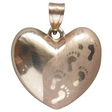 14 Karat Yellow Gold Heart Pendant By Michael Anthony Footprints