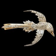 Vintage 1940's Sterling Silver Gold Plated Rhinestone Bird of Paradise Brooch