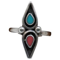 Vintage Sterling Silver Turquoise Coral Shadow Box Ladies Right Hand Ring