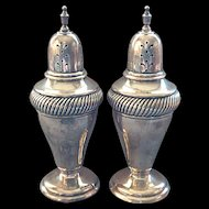 Vintage Heavy Tall Sterling Silver Salt & Pepper Shakers By Watrous Mfg. Co.