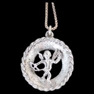 Vintage Sterling Silver Cupid With Bow and Arrow Ladies Pendant Necklace