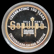 Rare Sapulpa Oklahoma Commemorative .999 Silver 24K Gold One Ounce Art Round Trolley and Rail
